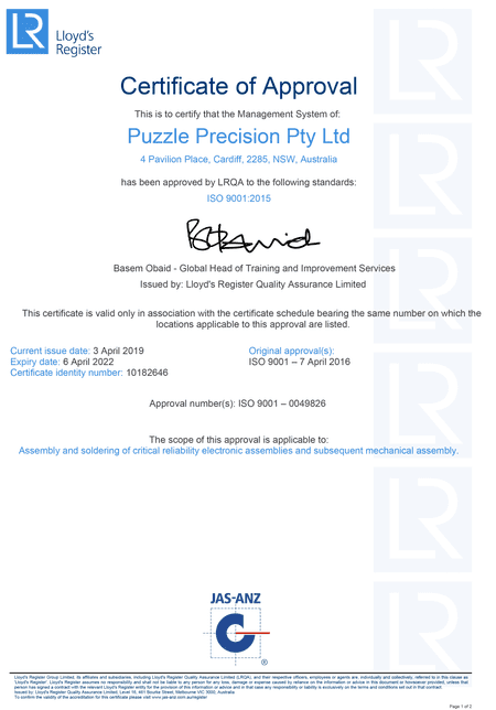Qualifications | IPC Certified Trainers | ISO 9001 | Puzzle